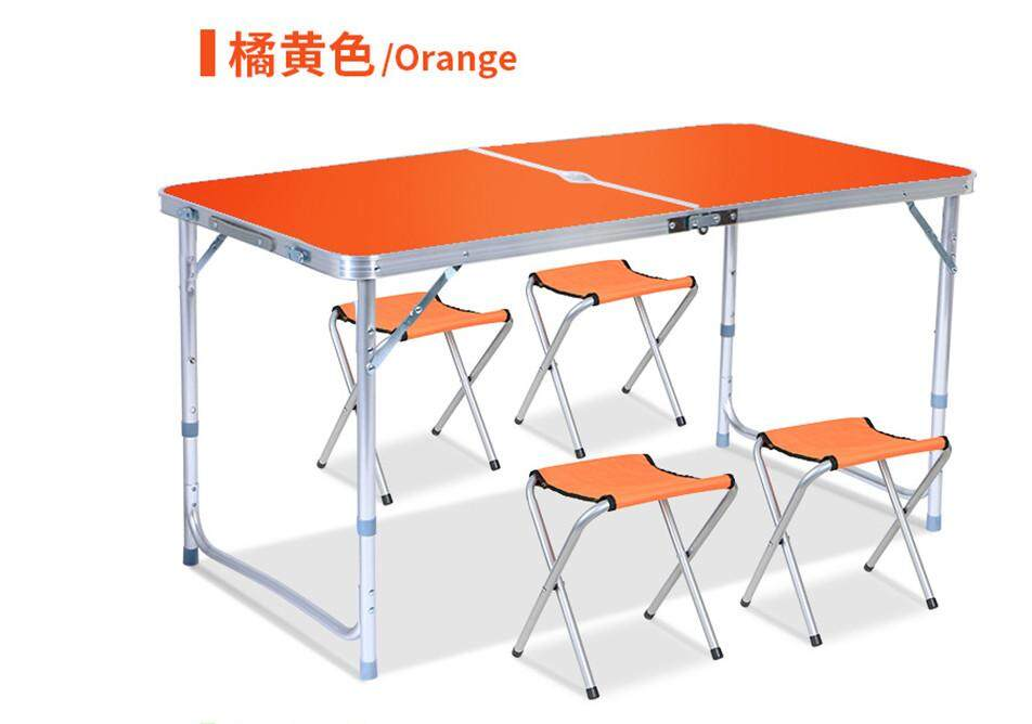 Portable Table Outdoor Table with 4 chair Hole to put Umbrella Aluminium Easily Folding
