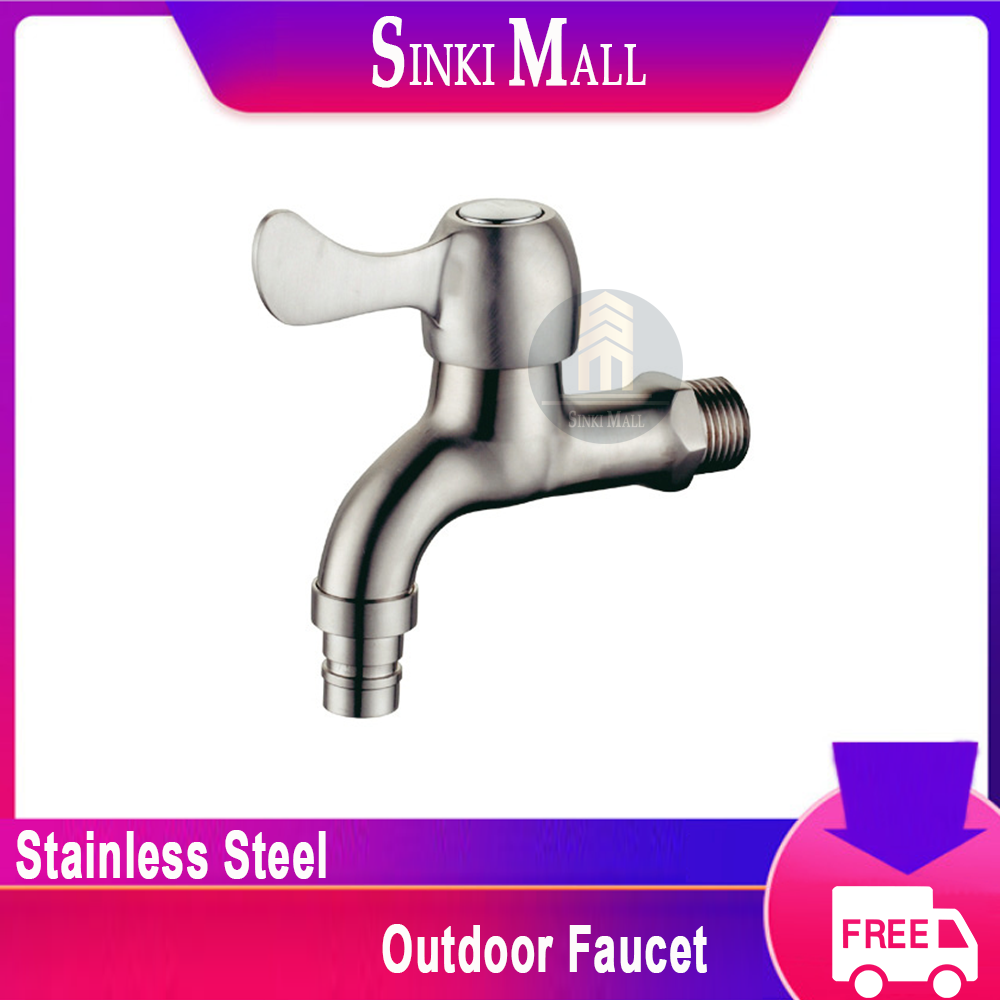 SUS304 Stainless Steel Water Tap Faucet Outdoor Faucet Kitchen Washing Machine Laundry Garden