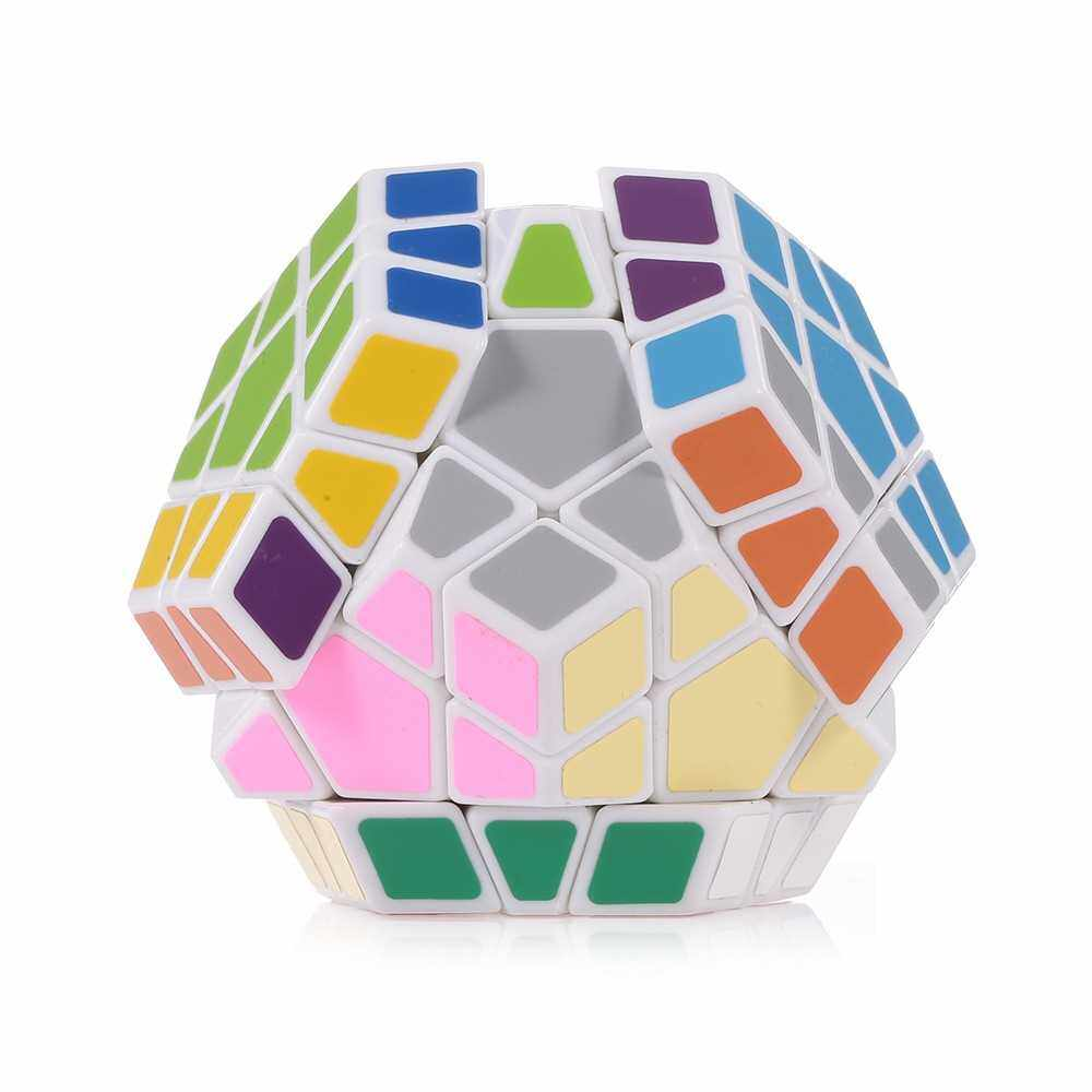 People's Choice Speed Cube Magic Cube Dodecahedron Sticker Cube Puzzle Cube for Beginners Kids (White)