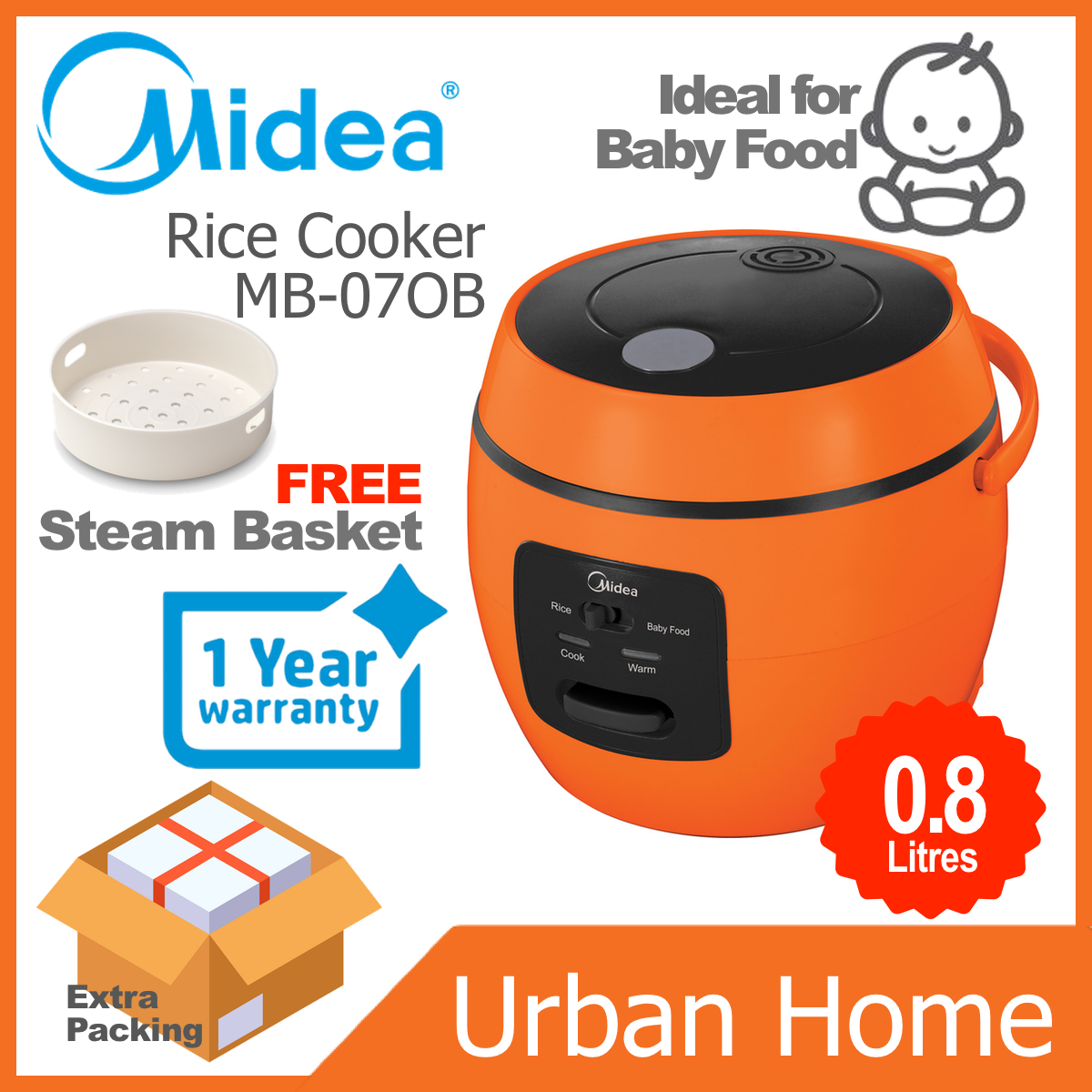 MIDEA 0.8L Mini Jar Rice Cooker Ideai for Baby Nasi Periuk Bayi (MB-07OB/MB07OB)