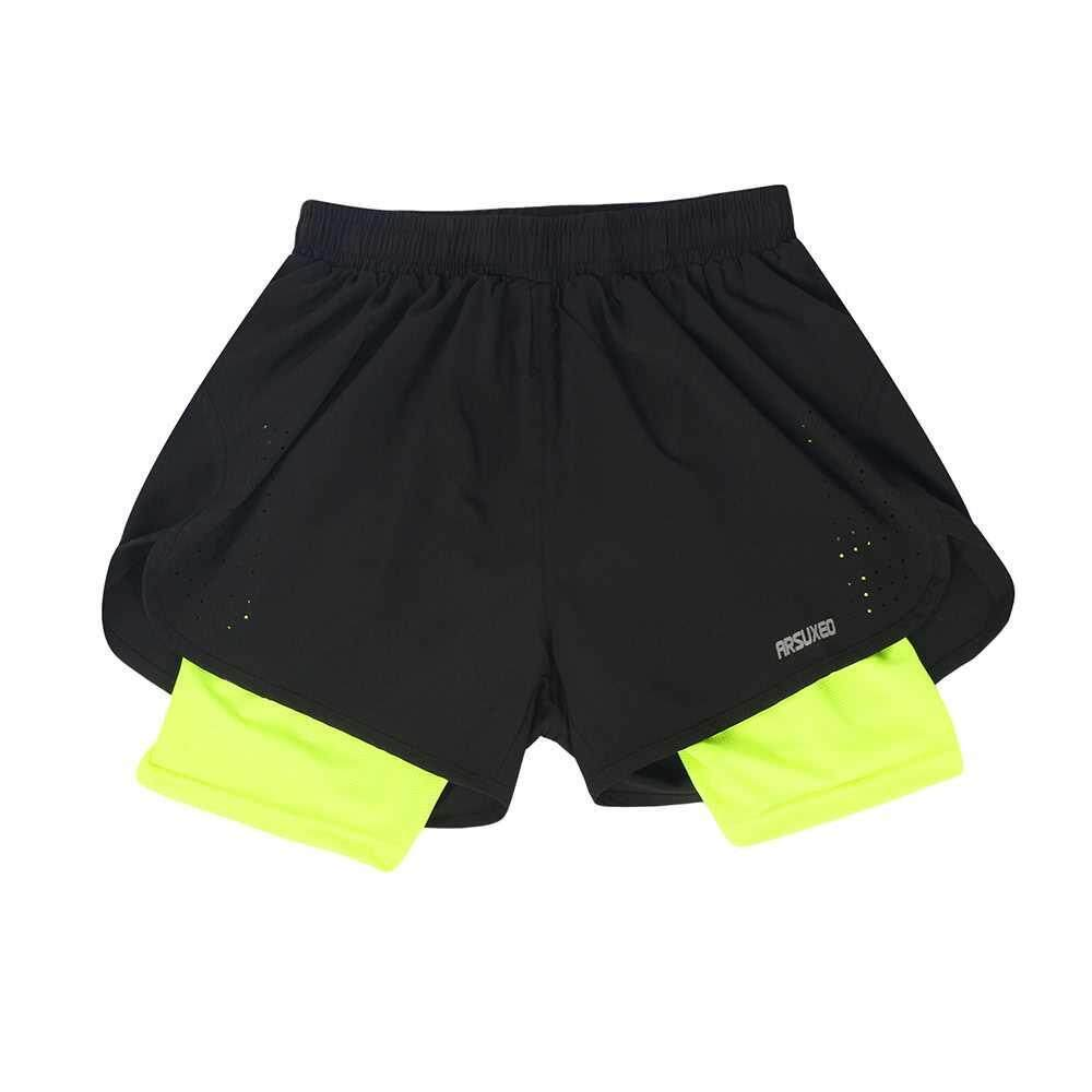 Arsuxeo Men's 2-in-1 Running Shorts Quick Drying Breathable Active Training Exercise Jogging Cycling Shorts with Longer Liner (green)
