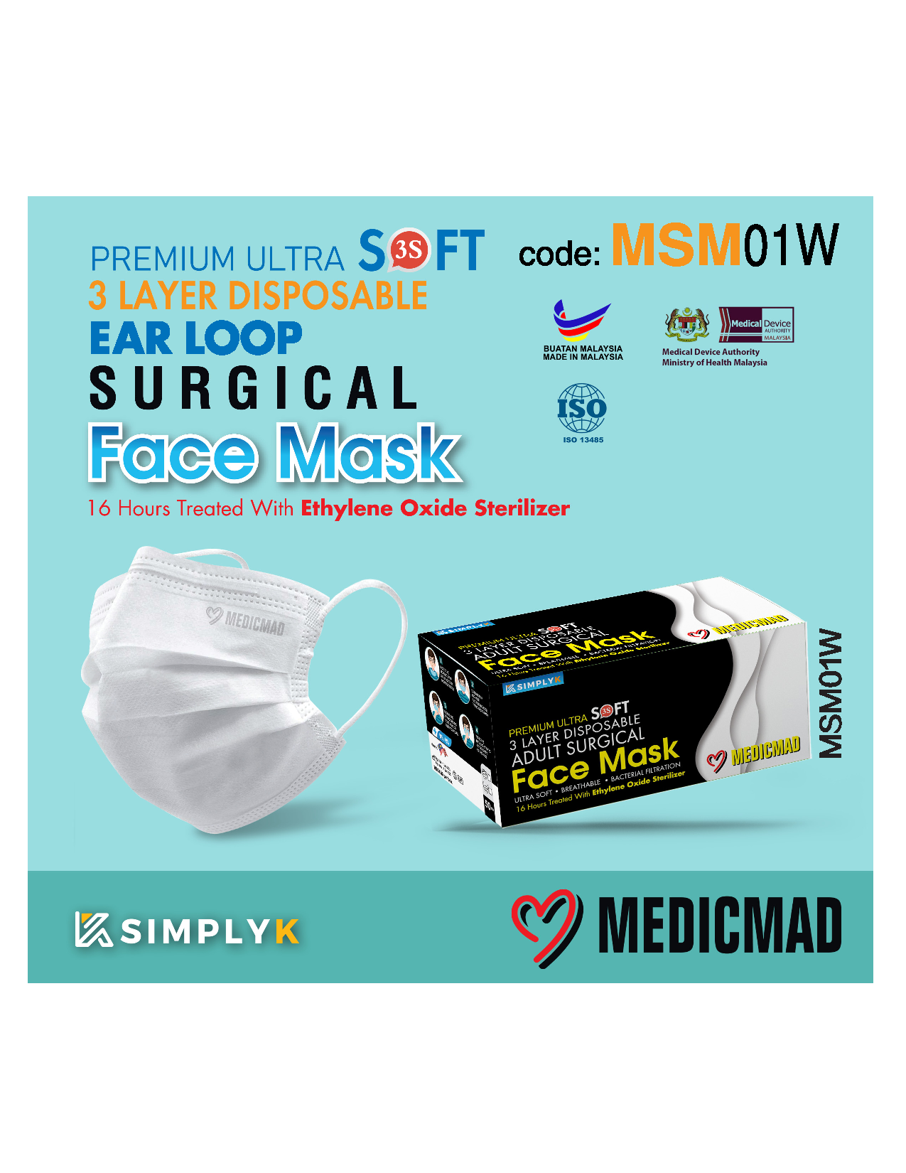 Simply K Official Store - Sterilized Ear Loop Surgical Mask (White)