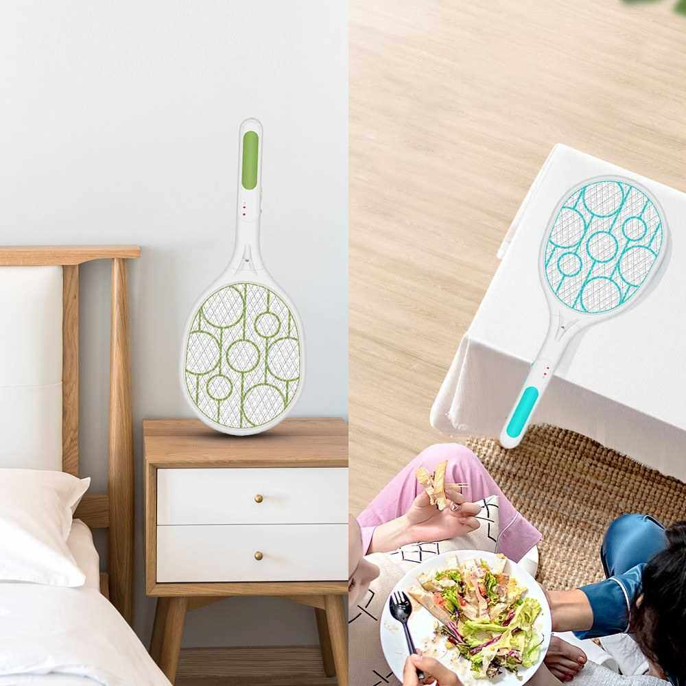 Electric Fly Swatter Rechargeable Racket with Safe to Touch Mesh Net and Built-in Flashlight Kills Insects Gnats Mosquitoes and Bugs (Green)