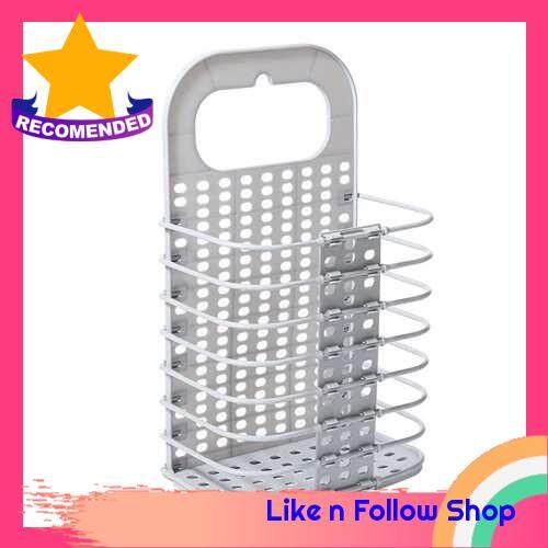Punch-Free Hanging Plastic Collapsible Laundry Hamper Portable Foldable Folding Storage Basket Bin Container Organizer with Handle Sticky Hook for Bathroom Bedroom (Silver)