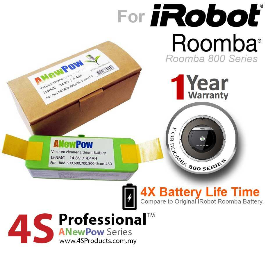 iRobot Roomba 800, 805, 860, 870, 880, 890 Lithium Battery Replacement High Capacity 4400mAH