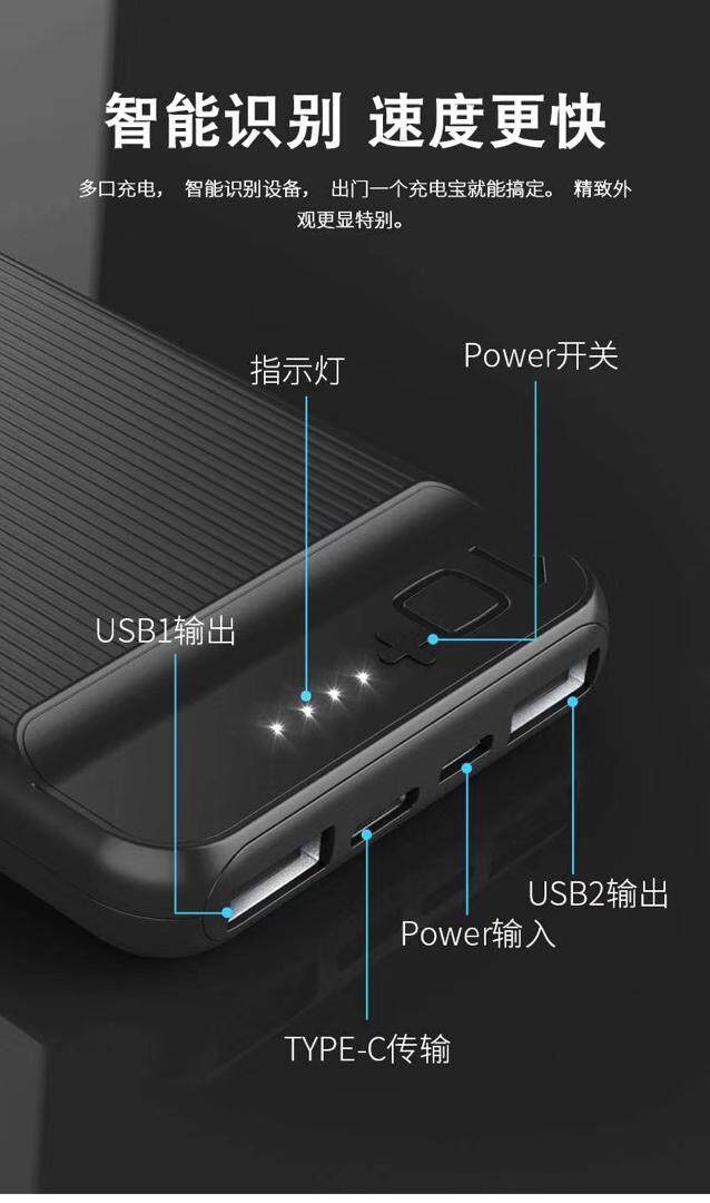 Poerma 10000mAH Powerbank PB-177, 2 Input DC 5V 2.0A (microUSB / TypeC), 2 Output DC 5V 2.1A, Ultra-Thin Intelligent Product, Light Weight Portable Charger, Fast Charging, Multiple Recharge