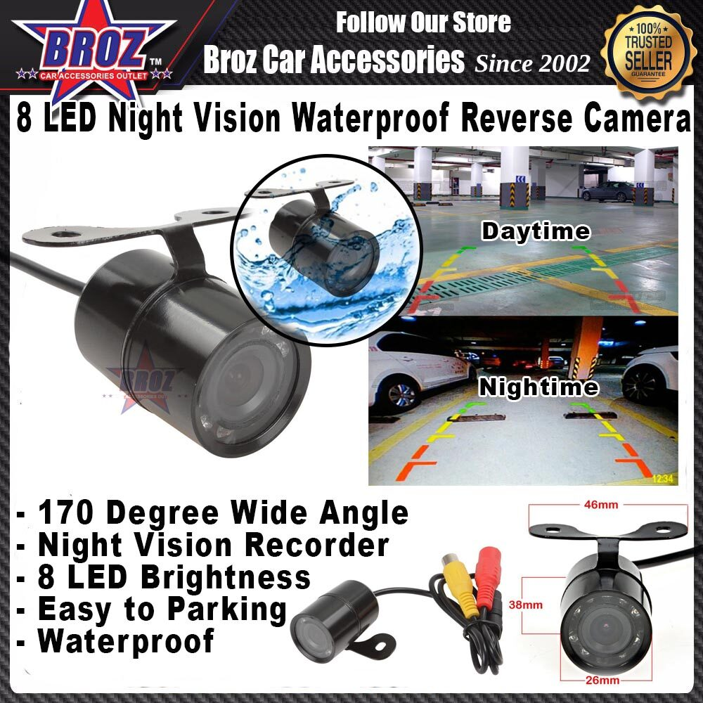 8 LED Night Vision Butterfly Waterproof Car Rear View Reverse Camera Backup