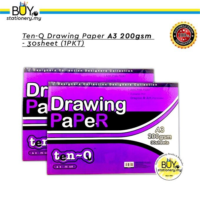 TEN-Q Drawing Block A3 200gsm- 30 SHEETS - (PKT)