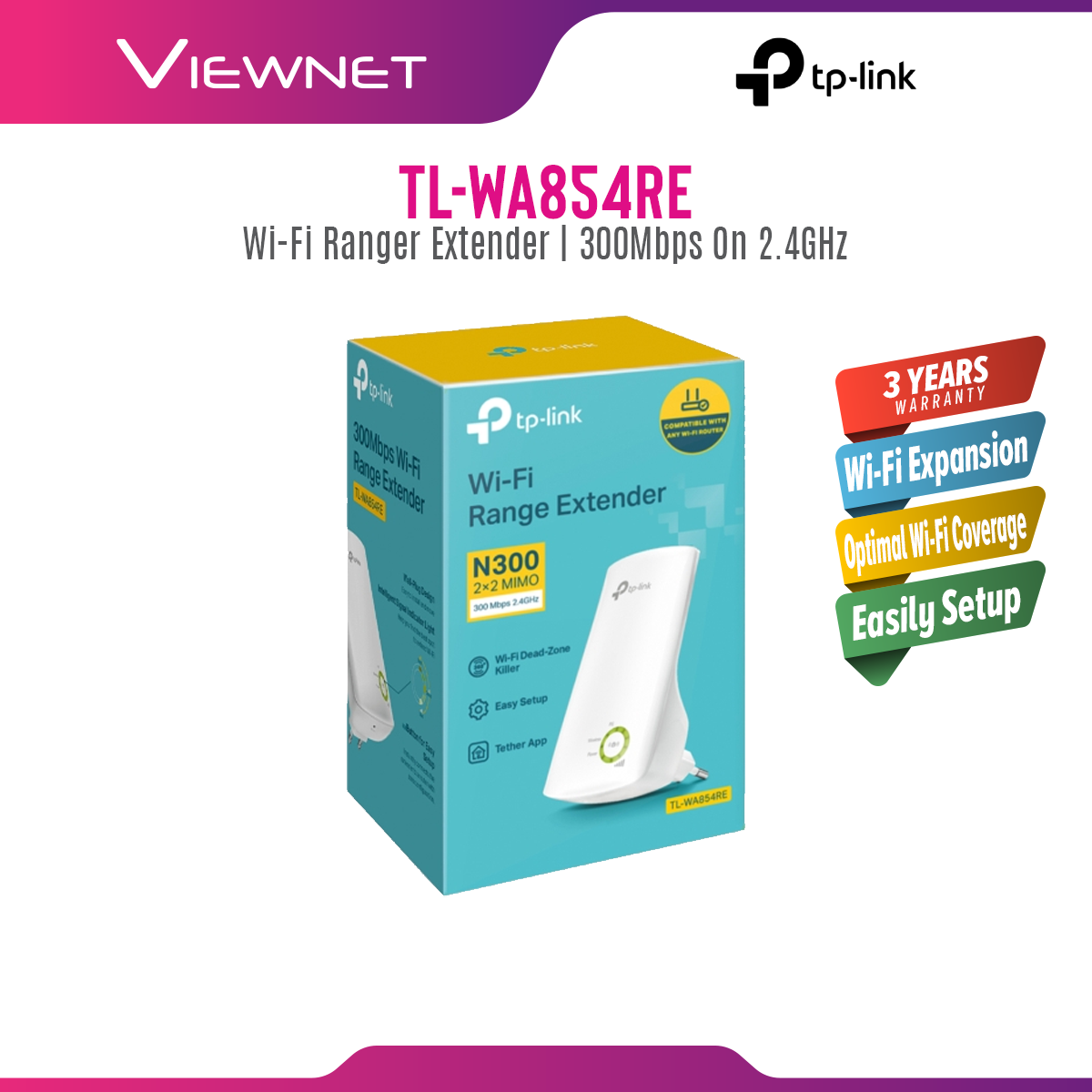 TP-LINK TL-WA850RE / TL-WA854RE Wireless N300 Repeater WiFi Wireless Booster Tplink Wi-Fi Range Extender WA850RE WA854RE