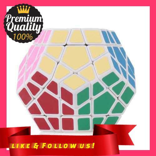 People\'s Choice Speed Cube Magic Cube Dodecahedron Sticker Cube Puzzle Cube for Beginners Kids (White)