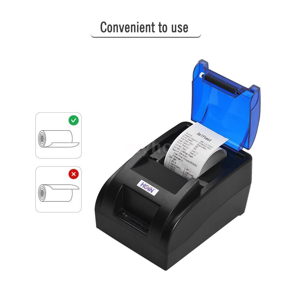 Printers & Projectors - HOIN PORTABLE 58mm Thermal Receipt Printer with BT & USB Interface High Speed Bill Ticket Clear - Computer & Accessories
