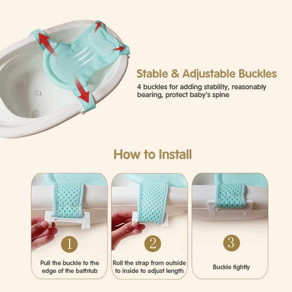 Best Selling Baby Bath Net Non-slip Protect Head Skin-friendly Breathable Fabric 4 Buckles Bath Support Net Adjustable Bathtub Sling for 0-12 Months Newborn Infants (Green)