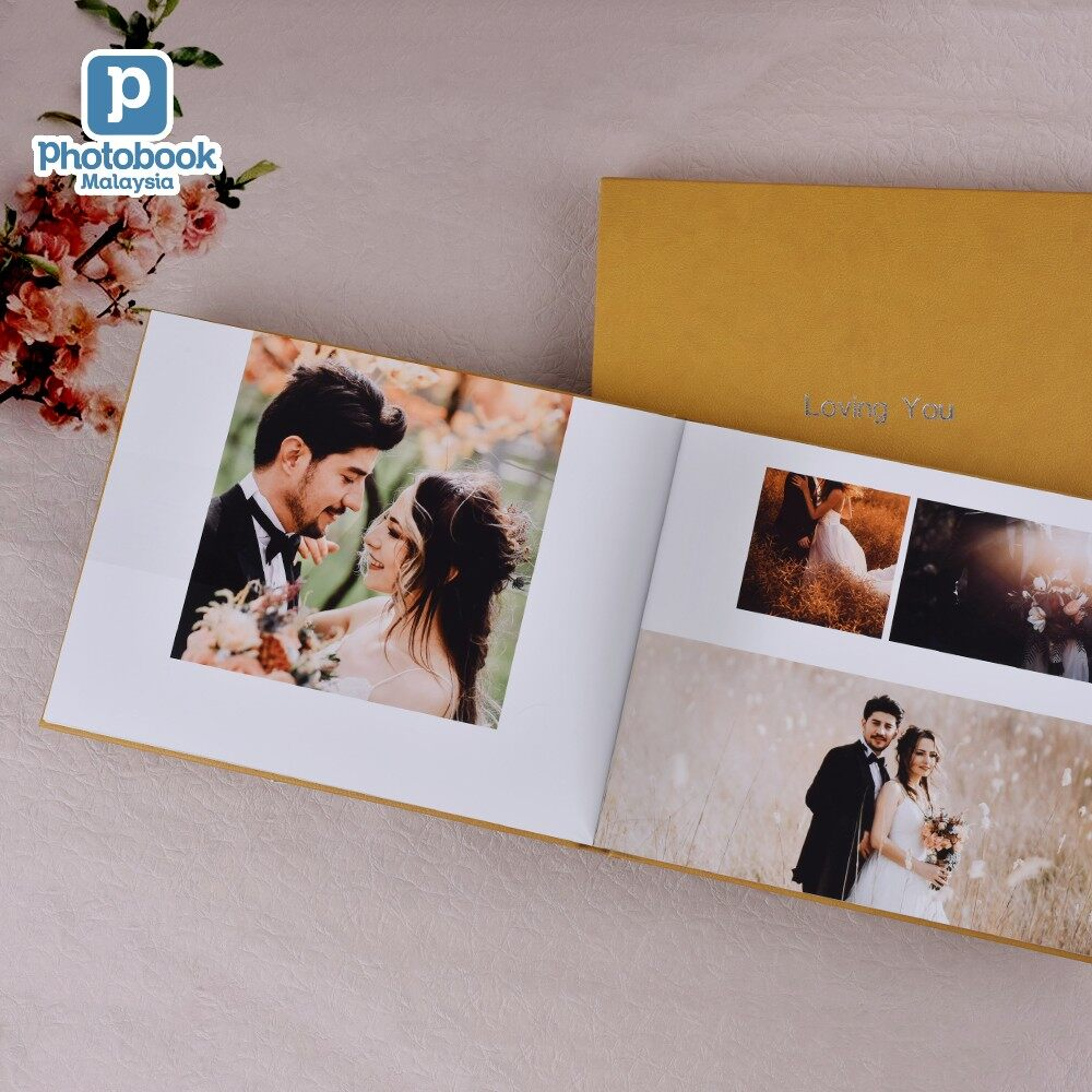 [e-Voucher] Photobook Malaysia A4 Custom Landscape Deluxe Hardcover Wedding Guest Book with Hot Stamping