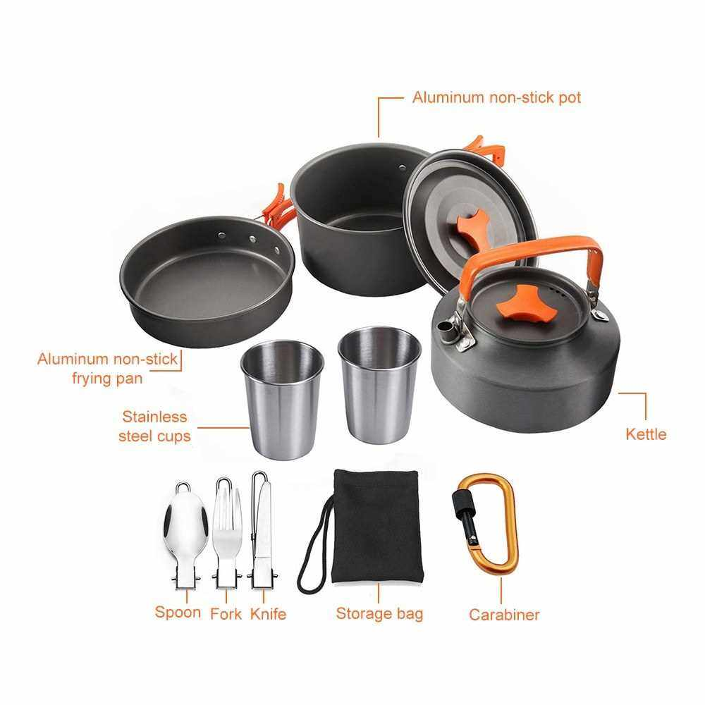 People's Choice 10pcs Camping Cookware Mess Kit 2-3 Persons Lightweight Kettle Pot Pan with 2 Cups Fork Spoon Kit Backpacking Gear for Outdoor Camping Picnic Backpacking Hiking (Orange)