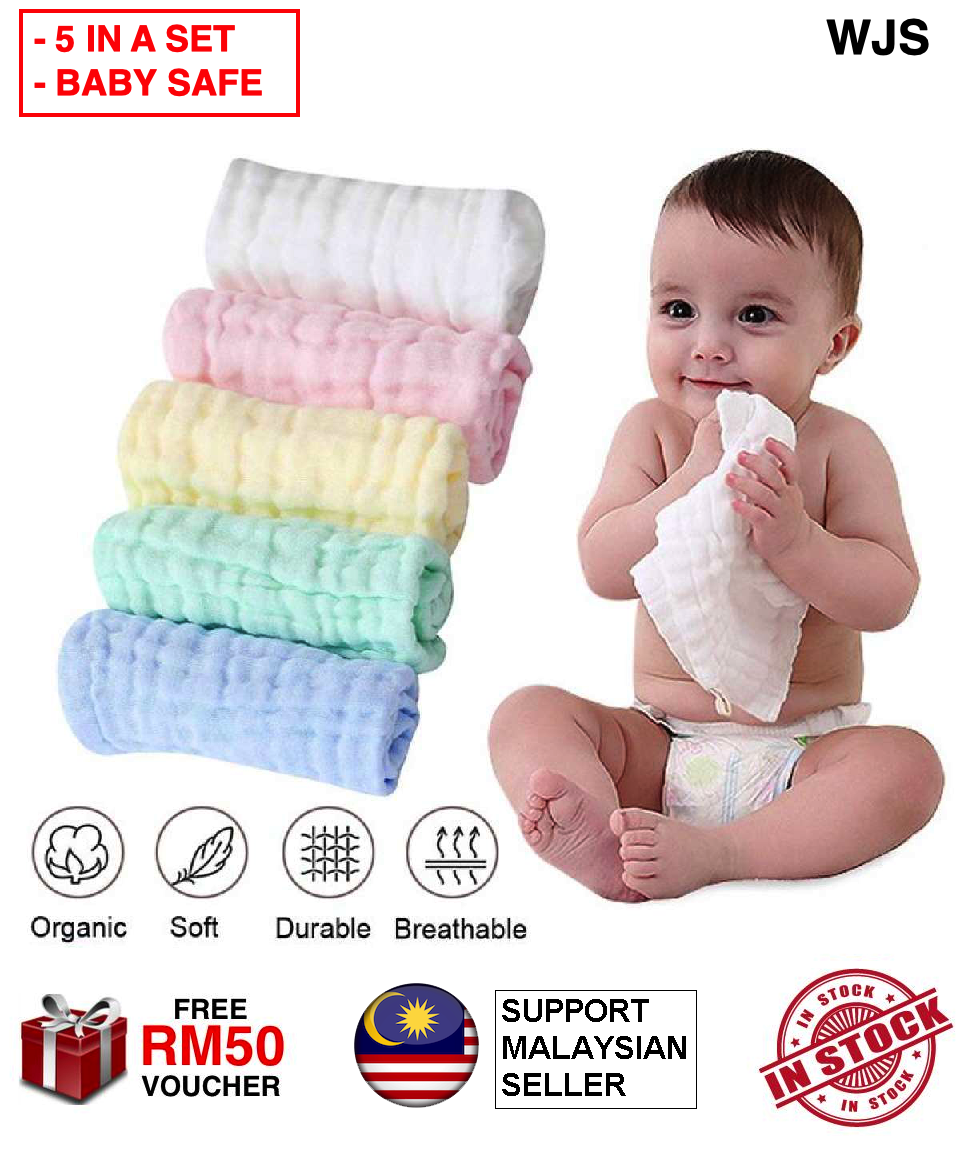 (BABY SAFE MATERIAL) WJS Improved Premium 6 Layer Baby Towel Baby Face Towel Baby Handkerchief Baby Hanky Bath Cotton Burp Cloth Soft Absorbent 6-Layer Gauze Kindergarten Washcloth 30X30cm MULTICOLOR [FREE RM 50 VOUCHER]