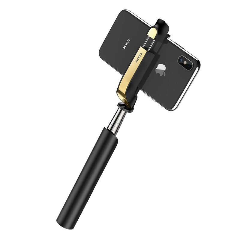 Phone Holder & Stand - HOCO K12 Extendable BLUETOOTH Selfie Stick Monopod for Cell Phones - PINK / BLACK