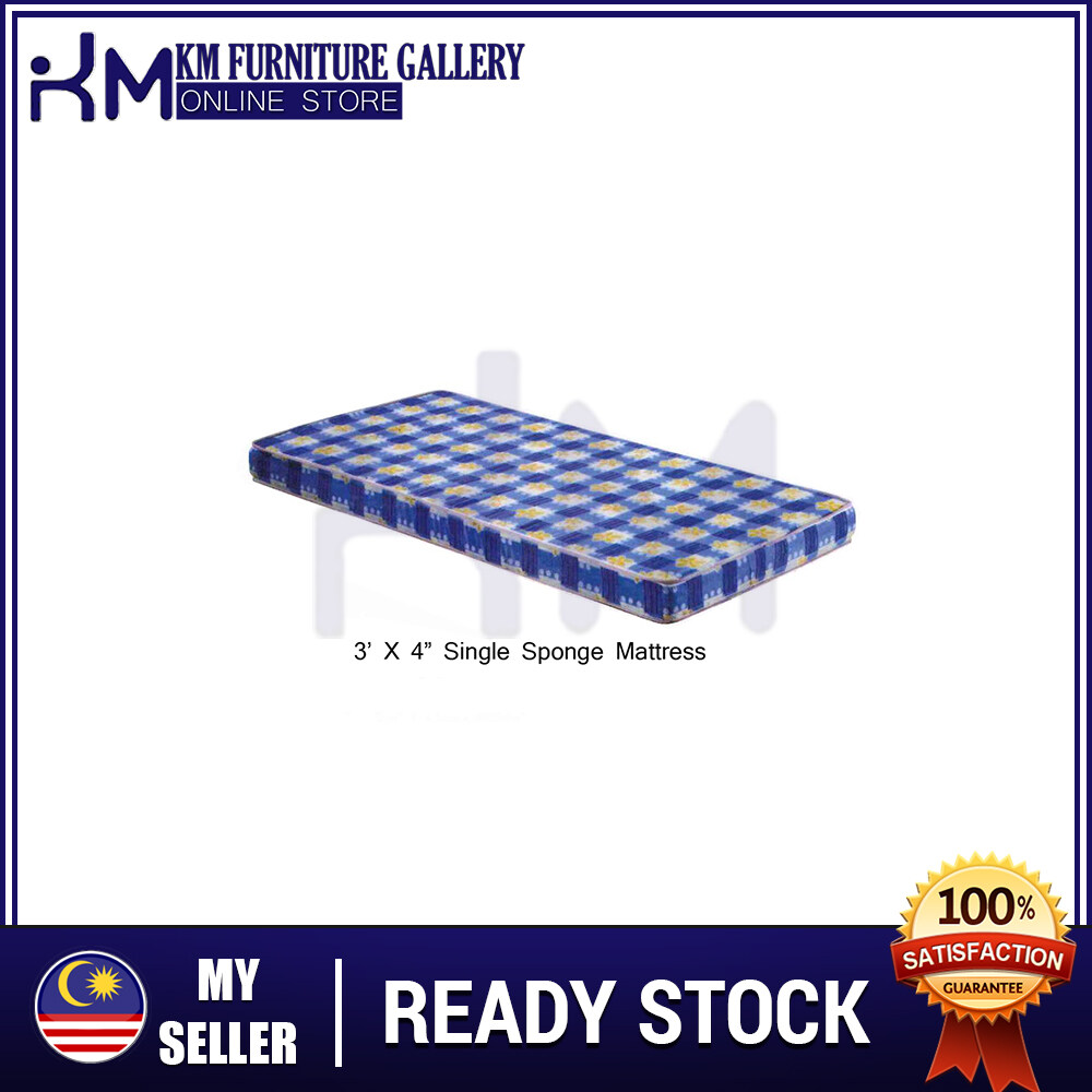 "KM Furniture Gallery 3'X4"" Single Sponge Mattress/ Tilam Bujang(Random Colour) KM3X4SM"