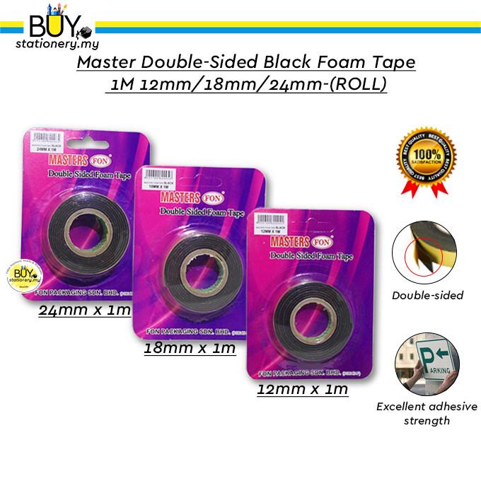 Master Double-sided Black Foam Tape 1M 12mm/18mm/24mm - (ROLL)
