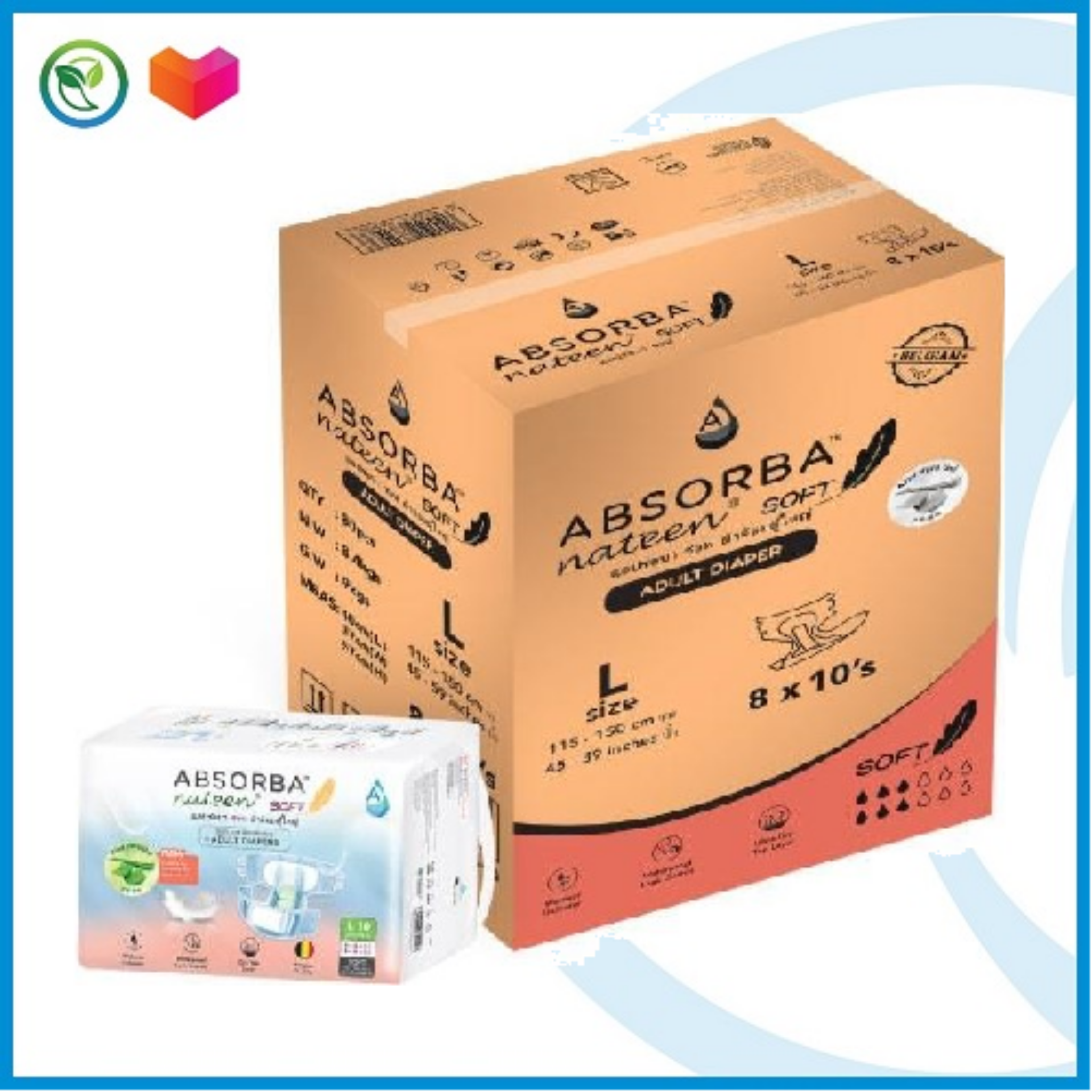Absorba Nateen Adult Diapers Soft (L) 10s x 8 Pack