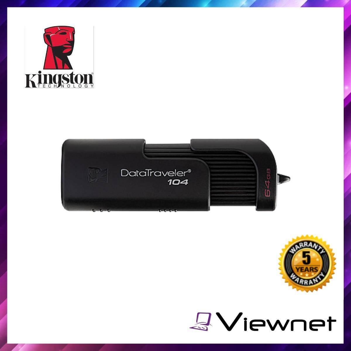 8.8 Kingston DataTraveler 104 (DT104) USB Flash Drive (16GB32GB64GB) Black portable for easy transportability stylish sliding cap design