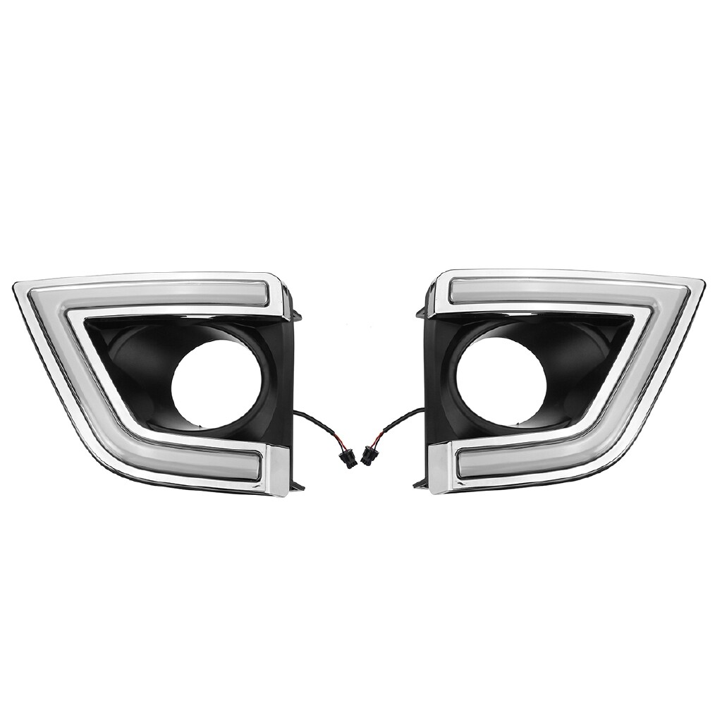 Car Lights - Pair White LED DRL Daytime Running Light Fog Lamp For Toyota Corolla 2014-2016 - Replacement Parts