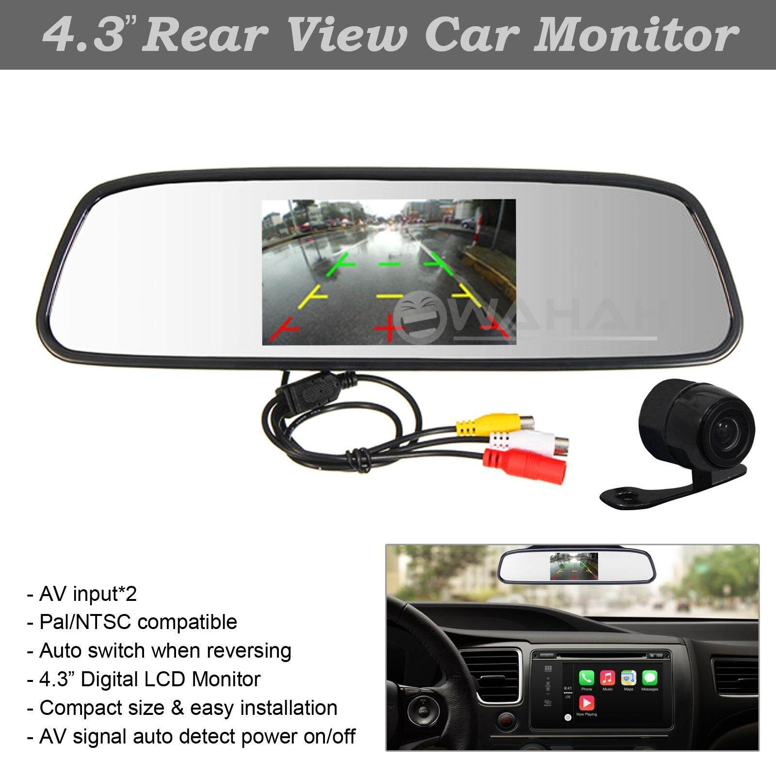"4.3"" Car Reverse Rear View Mirror Display Monitor + Round Car Reverse Camera Color CMOS Reversing Camera"