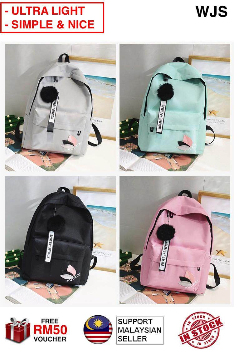 (ULTRA LIGHT) WJS Simple and Nice Polaqi Backpack Cute Korean Casual Backpack Fashion College Travel Backpack Bagpack Unisex Bag School Bag BLACK GREY TURQUOISE PINK [FREE RM50 VOUCHER]
