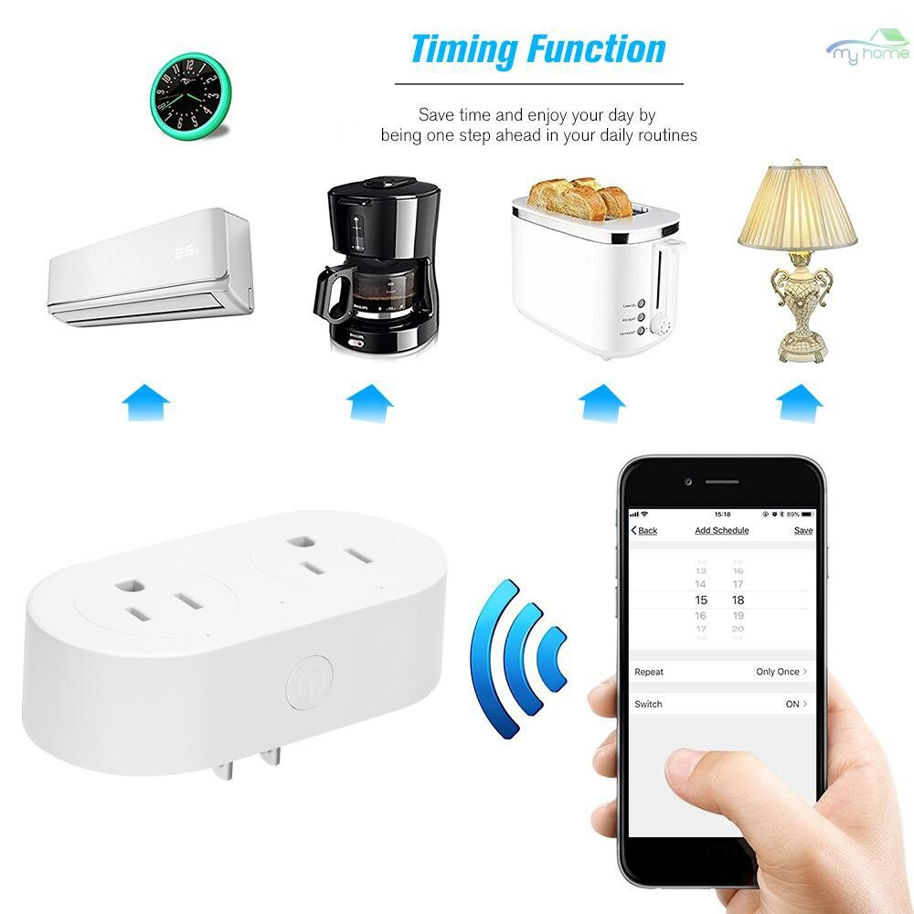 Plugs & Adapters - Smart Plug 2 in 1 WIFI MINI Smart Outlet Sockets SET Schedule Remote Control from Anywhere,Voice - Home Improvement
