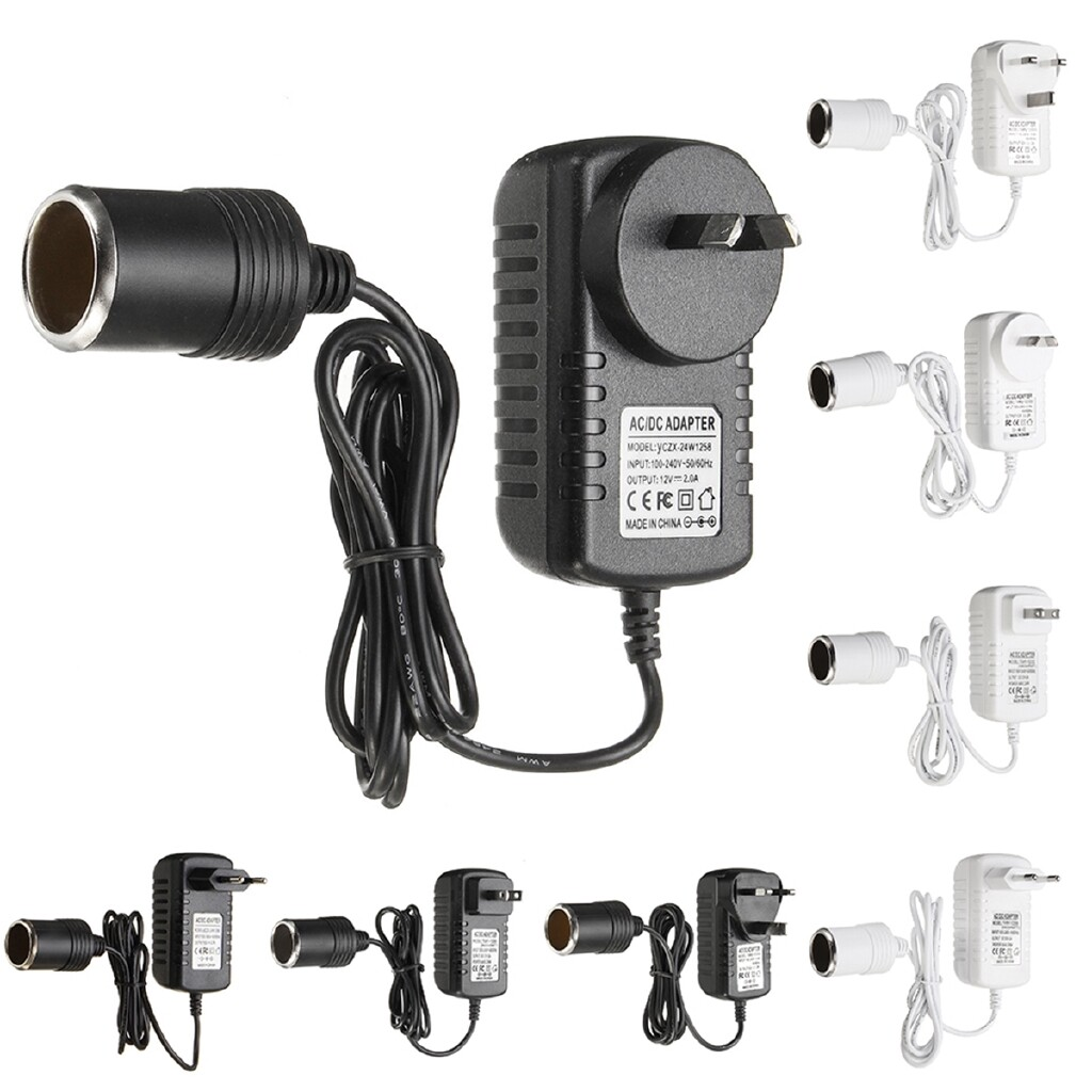 Plugs & Adapters - Car Lighter Power Adapter 12V AC-DC 240V 2A Mains Voltage Converter - BLACK-EU / WHITE-US / BLACK-AU / WHITE-UK / WHITE-AU / BLACK-UK / BLACK-US / WHITE-EU