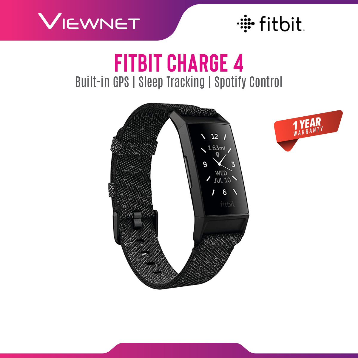 [Ready Stock] (NEW 2020 Model) Fitbit Charge 4 Advanced Health & Fitness Tracker Smartwatch with Built-in GPS 24/7 Heart Rate Tracking Battery Up To 7 Days (Black / Rosewood / Granite Reflective Woven)