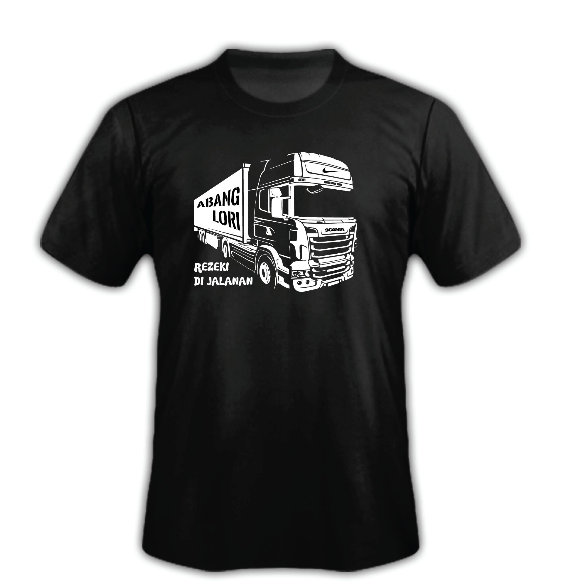 T-Shirt SCANIA ABANG LORI REZEKI DI JALANAN TRUCK 100% Cotton Baju Tshirt Black White Hitam Putih Bossku
