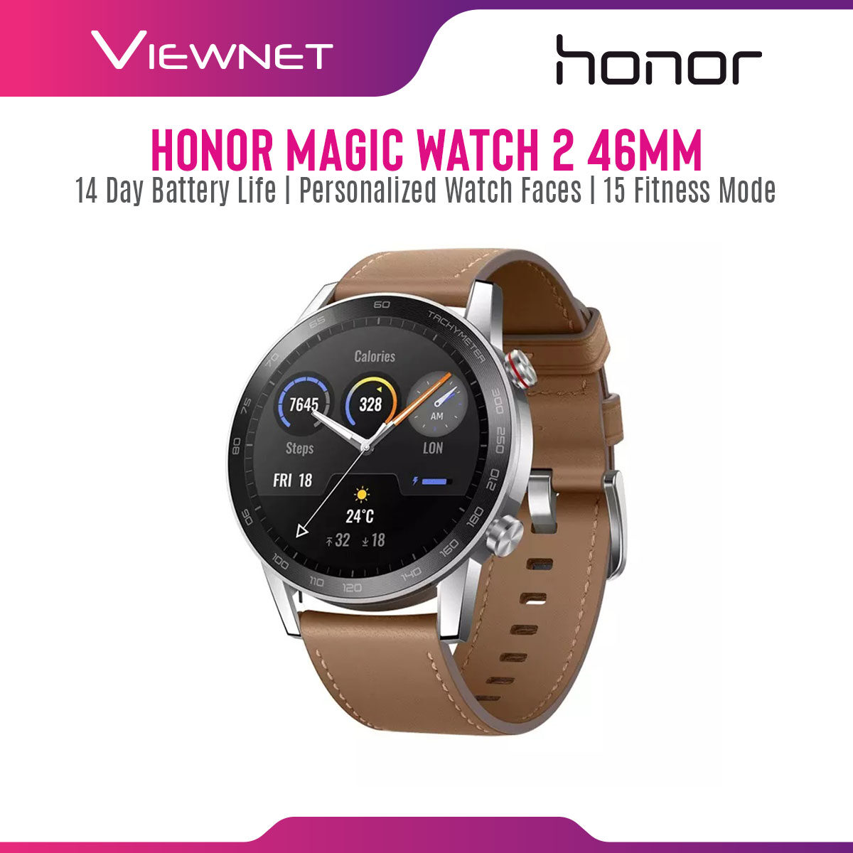 Honor Magic Watch 2 (14-Day Battery Life/Personalized Watch Faces/15 Goal-Based Fitness Modes) Smartwatch with 1 Year Honor Malaysia Warranty