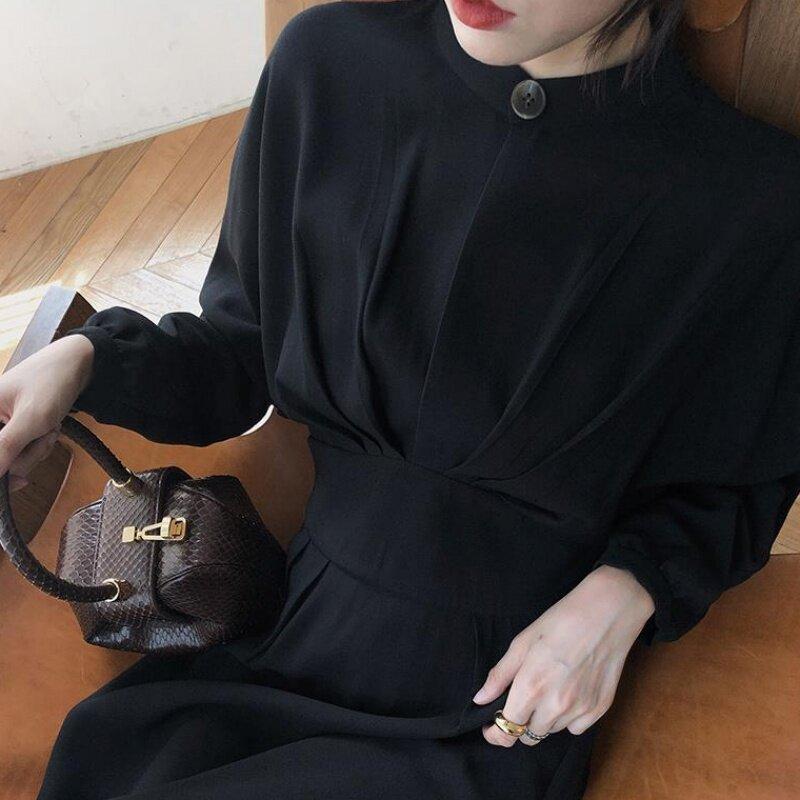 (PRE ORDER) WOMEN ELEGANT RETRO BAT SLEEVE PLEATED STAND COLLAR DRESS