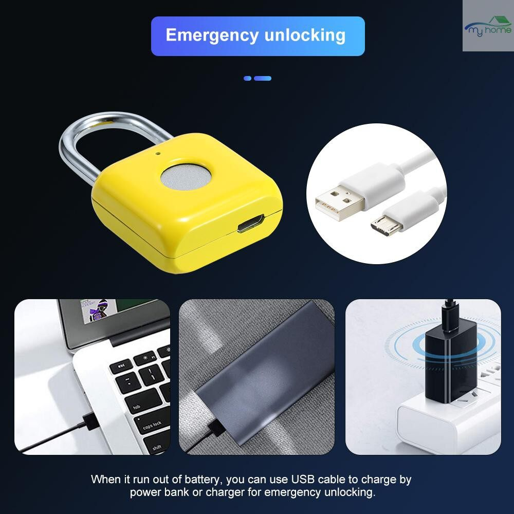 Chains & Locks - Smart Keyless Fingerprint Padlock Intelligent Electronic Non-password Finger Touch Lock Biometric - RED / YELLOW / GREY