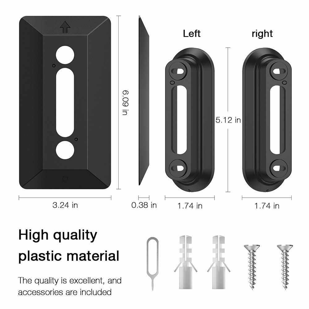 Wall Plate Come with L35/R35 Wedge For Arlo Video Doorbell , Compatible With Arlo Video Doorbell Plastic Material Adjustment Mounting Wall Plate Wedge Kit, Black (Black)
