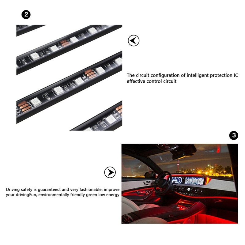 Car Lights - RGB Leds Car Interior Light Strip RGB 6M Optical Fiber Strip Light Lamp Door fit iOS and Android - Replacement Parts
