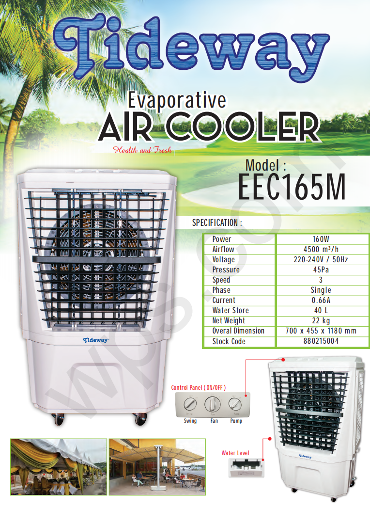 air cooler cooling cool cold pad water supply tank automatic fill filter flow drop fan blower wind blade wheel roller roll rolling handle holding holder hold sprayer spray pump wireless remote control adjustable big event power exhibition in out door move