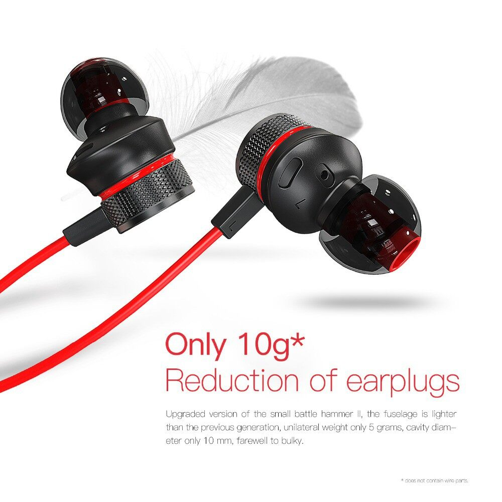 Plextone G15 Earbuds Earphone Gaming PUBG Mobile 3.5mm In-ear Headphones Metal Bass Head SET with - BLACK / RED / GREEN