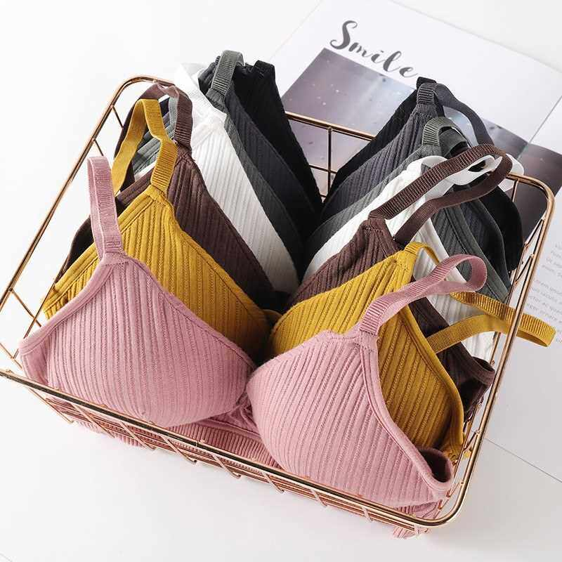 Best Selling Women Bra Solid Color Wireless Padded Comfortable Breathable Sexy Bralette Brassiere Underwear Lingerie (Coffee)