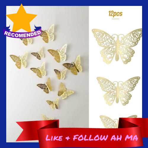 Best Selling 12pcs/set Vivid 3D Butterfly Wall Stickers Removable Mural Stickers DIY Art Wall Decals Decor with Glue for Bedroom Wedding Party--Gold (Gold)