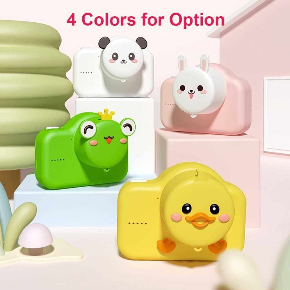 720P Cute Kids Digital Video Camera 20MP Photo Resolution Dual Lens Built-in Rechargeable Battery Birthday Festival Gift for Children Boys Girls (Yellow)