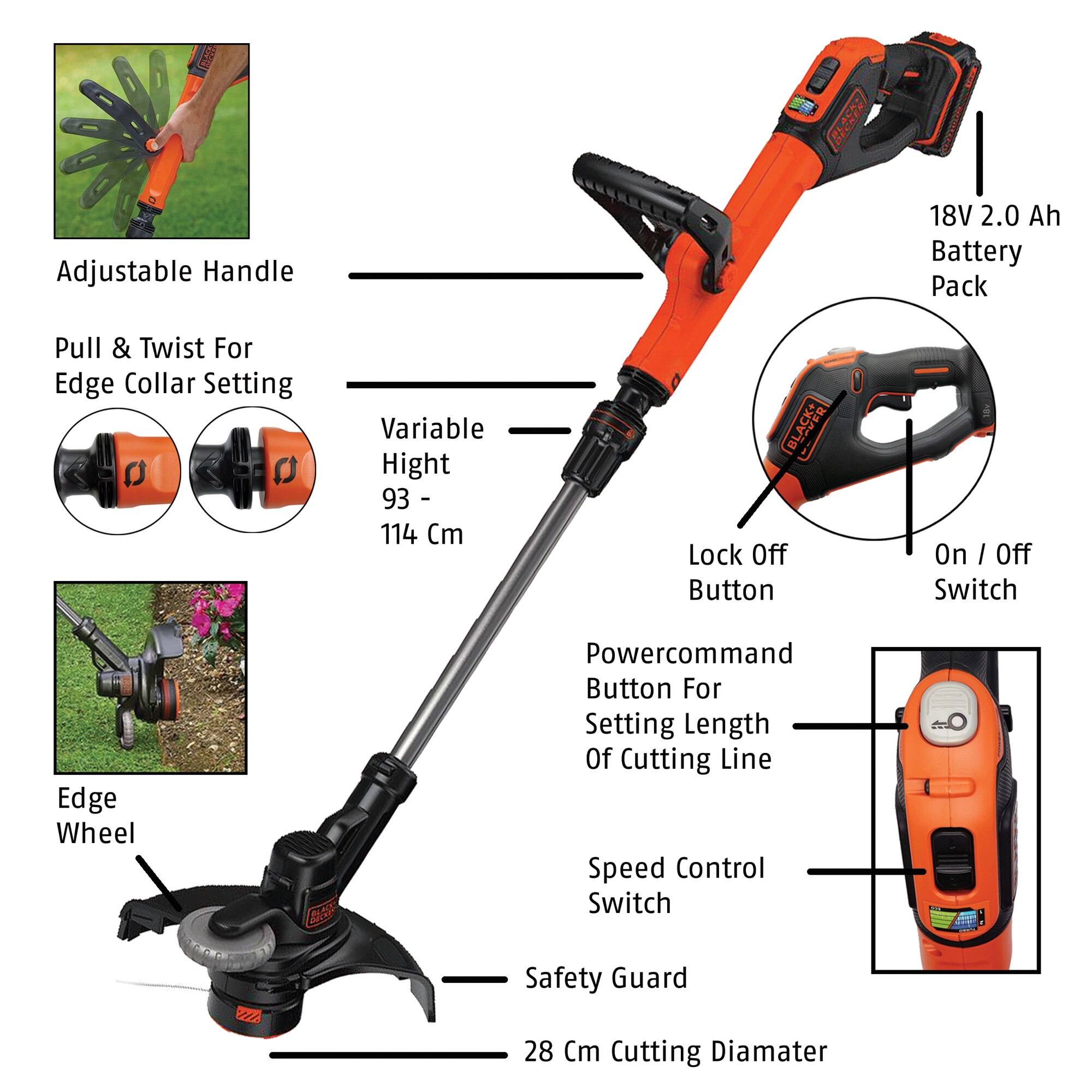 Black & Decker STC1820EPCF-B1 18V 2.0 Ah 28cm Cordless Grass Trimmer ( STC1820EPCF, STC1820 )