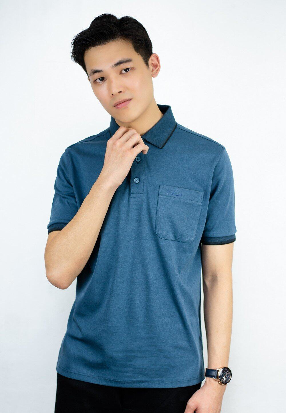 Polo Tee with Stripe Collar and Pocket with Embroidery 705