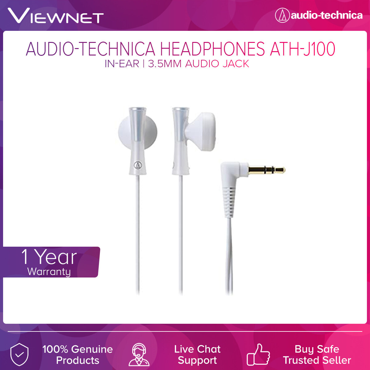 Audio-Technica In-Ear Headphone (ATH-J100) with 3.5mm Audio Jack, 13.5mm Driver, 1.2m Length, Lightweight, L-Shape
