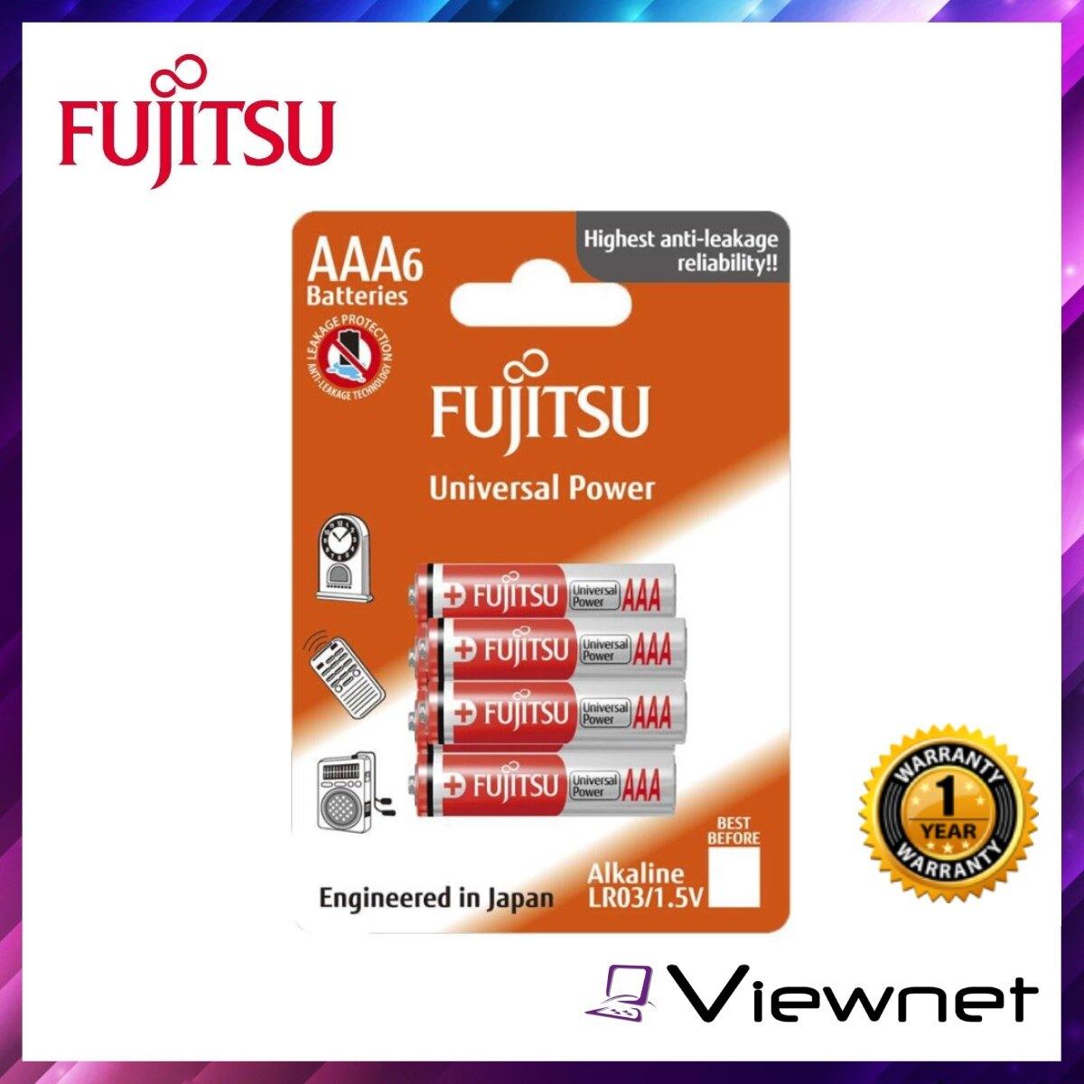 Fujitsu Alkaline Battery Universal Power AAA 6Pcs (LR03(6B)FU-W-FI), Leakage Protection, Anti Corrosion