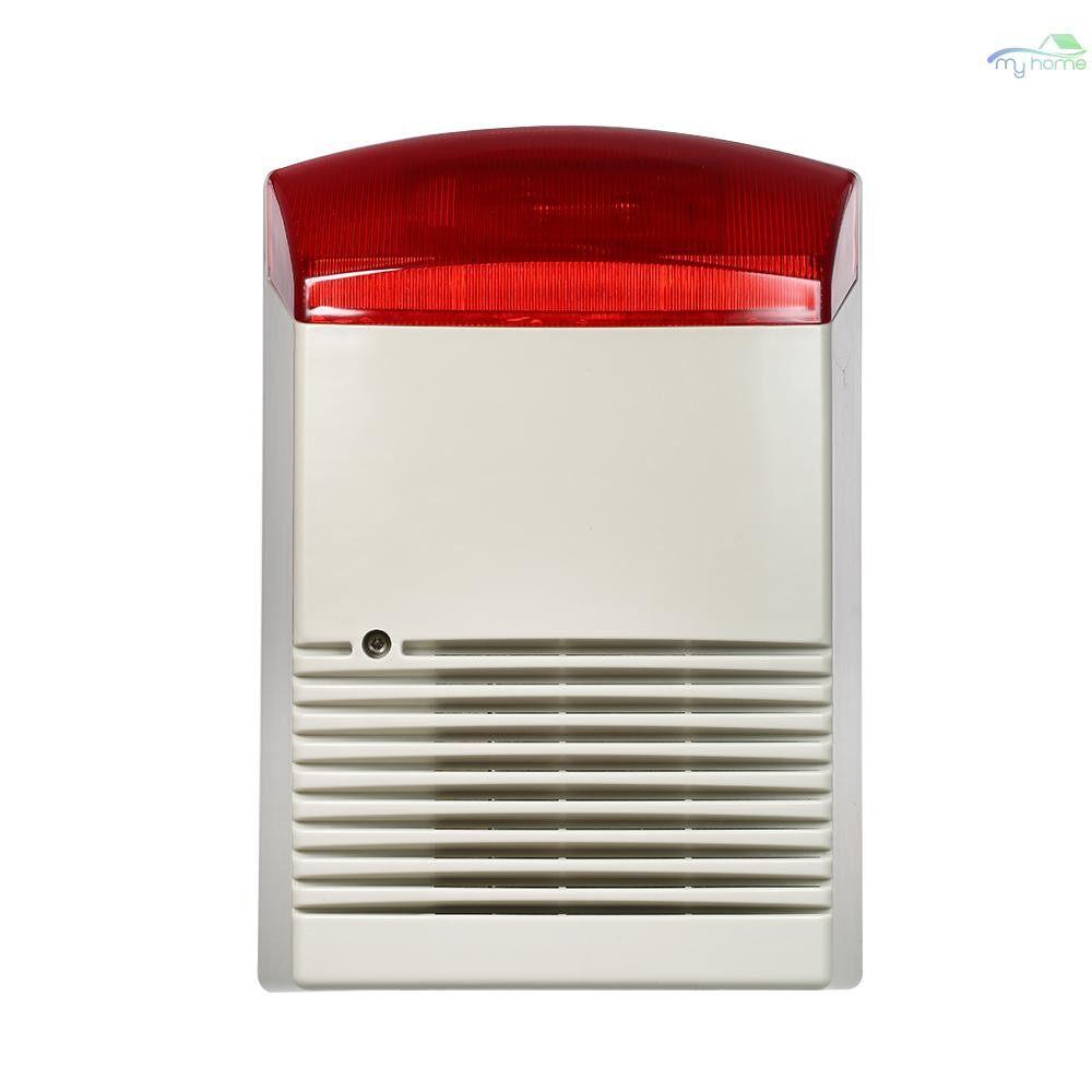 Sensors & Alarms - Wired Strobe Siren Sound Light Alarm Red Flashlight Horn 120dB Loud Alarm Sound Speaker Outdoor - RED&GRAY