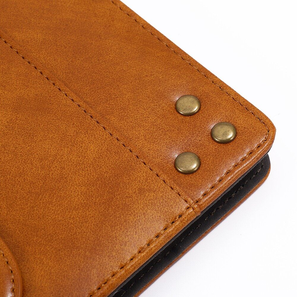 Phone Holder & Stand - PU Leather Folding Stand Hand Strap Holder Wallet Style Case - BROWN / DARK BLUE