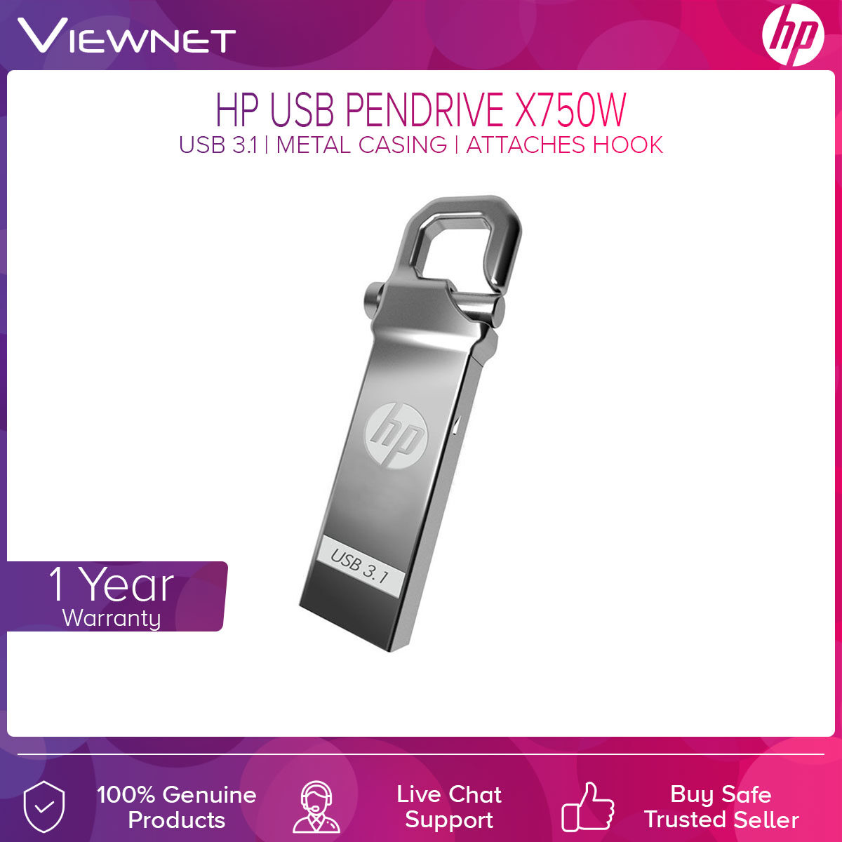 HP USB Pendrive X750W with USB 3.1 Connection, Metal Casing, Attaches Hook