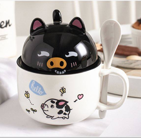 Ready Stock Couple Mug Animal Ceramic Mug With Cover Cup And Tea Spoon 350-400ml Cawan Comel 可爱大容量咖啡马克杯卡通创意情侣陶瓷杯