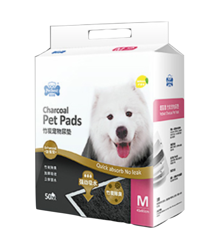 PETBEST 【宠百思】Charcoal Training Pet Pads / Wee Wee Pads / Urine Pads 竹炭柠檬香宠物尿垫 M size (45cm x 60cm) 50pcs